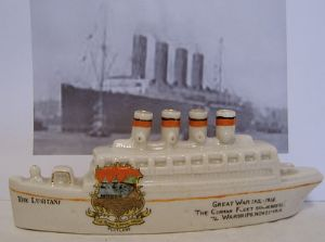 Carlton China Crested Ware - Lusitania - Portland - 1920s - SOLD